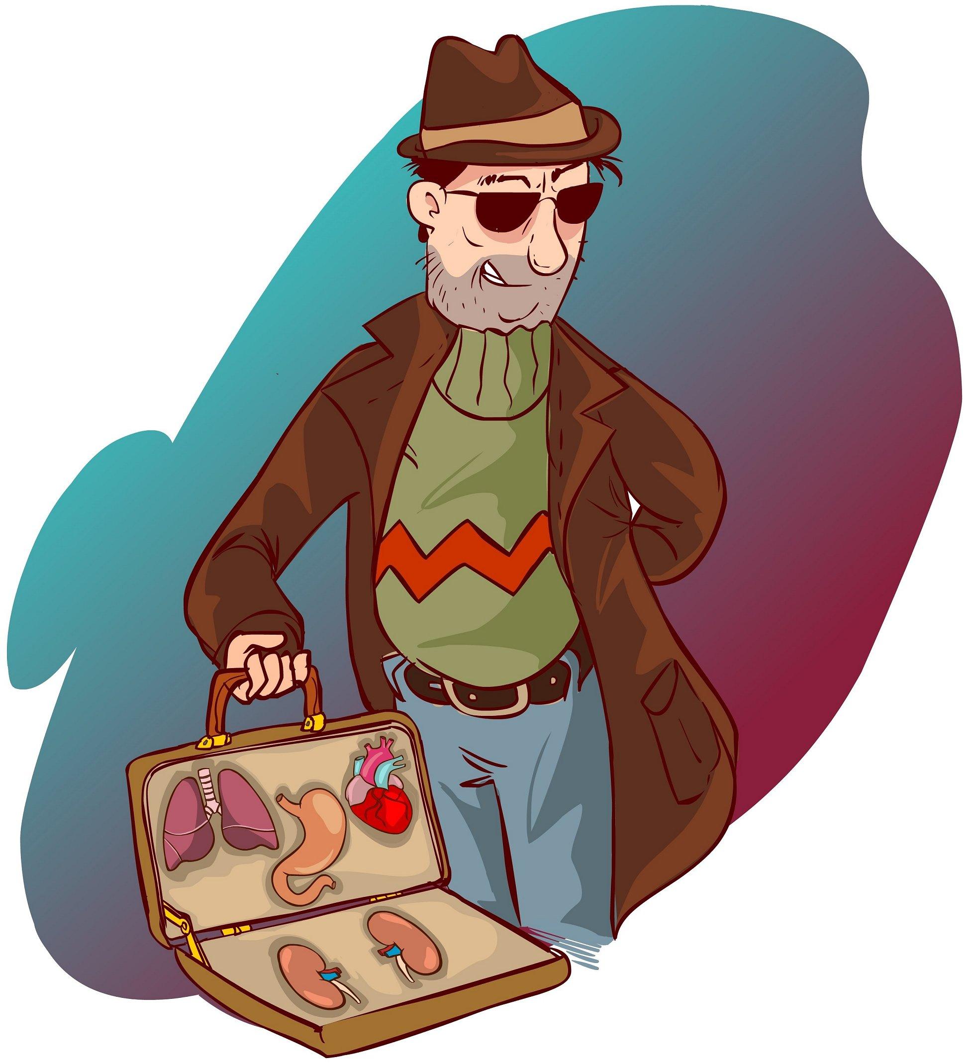 סוחר עם מזוודה מלאה באיברים