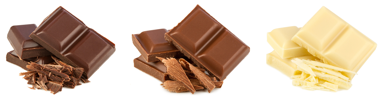 שוקולד לבן, חלב ומריר