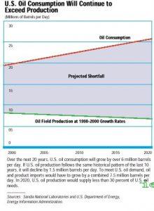 """גרף המציג את צריכת הנפט בארה""""ב עד שנת 2020"""