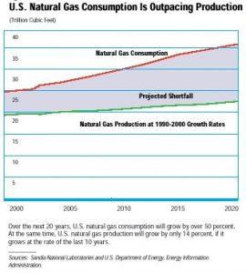 גרף המציג את צריכת הגז הטבעי בארצות הברית עד 2020