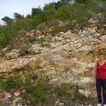 חניון הצוק - שכבות נטויות של גיר ועליו טרה רוסה