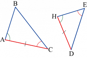 ששני משולשים השווים זה לזה בשתי זוויות ובאורך צלע